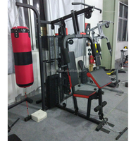 2019 New Style Folding 3 Station Home Gym with punching bag, sports equipment,deluxe home gym
