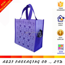 lovely bear printed portable washable reusable folding shopping bag with pocket