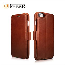 ICARER Real Leather Wallet Case For Apple iPhone 6 / 6s Plus Vintage Folio Cover With Credit Card Slot For iPhone6 4.7 / 5.5