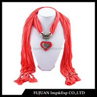 Fashion alloy and gemstone heart pendant cotton scarf jewelry scarf