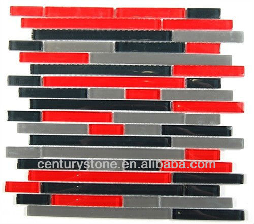 Glossy and Matt Strip Red and Black Glass Mosaic Tile