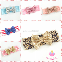Sequin Bow Gold Dot Child Headband Baby Knot Headband Knitted Bow Headband