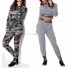 Slim Fit Tracksuits Sweatshirt, Camo Print Zipper Top Bottom Jogger Lounge Set 2 Piece Set Bulk Track Suit For Women