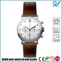 Japan Miyota 0S20 Chronograph Movement Trend Design Chrono Quartz Watch With Brown Genuine Leather Straps