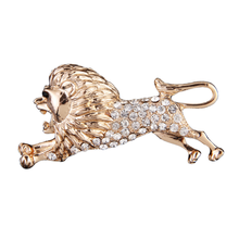 New alloy jewelry animal brooch men's rose gold color lion rhinestone brooch pin