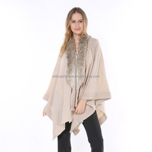 2016 Luxury Brand Cheap Ladies Large Femme Cape Winter cashmere Shawl Rabbit Fur Cashmere Knitted Poncho