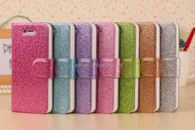 Wholesale - Bling shimmering powder PU leather Diamond buckle cell phone cases for Iphone 4 4S