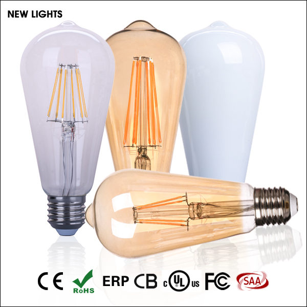 wholesale price retro vintage vertical long wire edison style dimmable e26e27 2w4w6w8w filament st64 led bulb