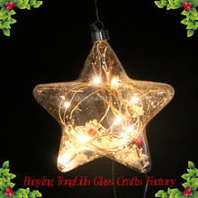 Hanging clear glass snow star ball with led light ornaments