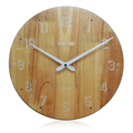 Eco-friendly Simple Decorative Customizable 35cm round face Wooden clock