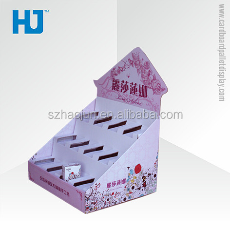 Lovely custom printing cardboard countertop soap display boxes on table with 3 tiers for retail store