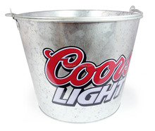 CMYK Logo 8L galvanized iron tin ice bucket, ice pails, beer bucket with openner
