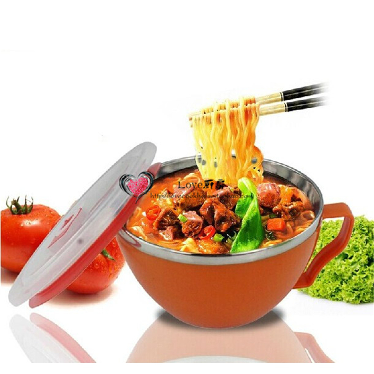 Wholesale colorful Stainless Steel soup bowl /double insulation plastic noodle bowl with lid