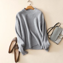 Lady winter sweater oversize crew neck loose cashmere sweater plus size hollow out knitting sweaters