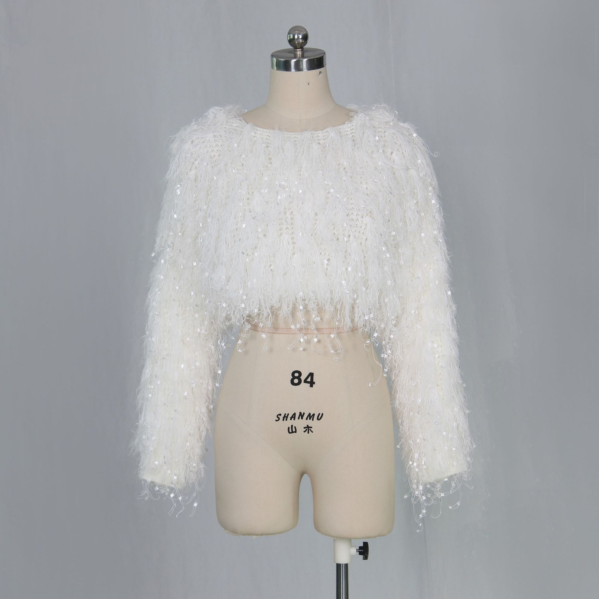 Z031 fashion fringed clothing crop top shaggy sweater fringe mink sweater