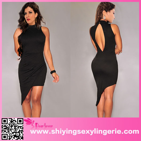 Black Asymmetrical Mock Neck Mini Dress alibaba express dresses www .sex. Com