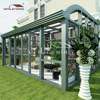 Luxury tempered insulated glass house/green house sunroom/wood aluminum sun room