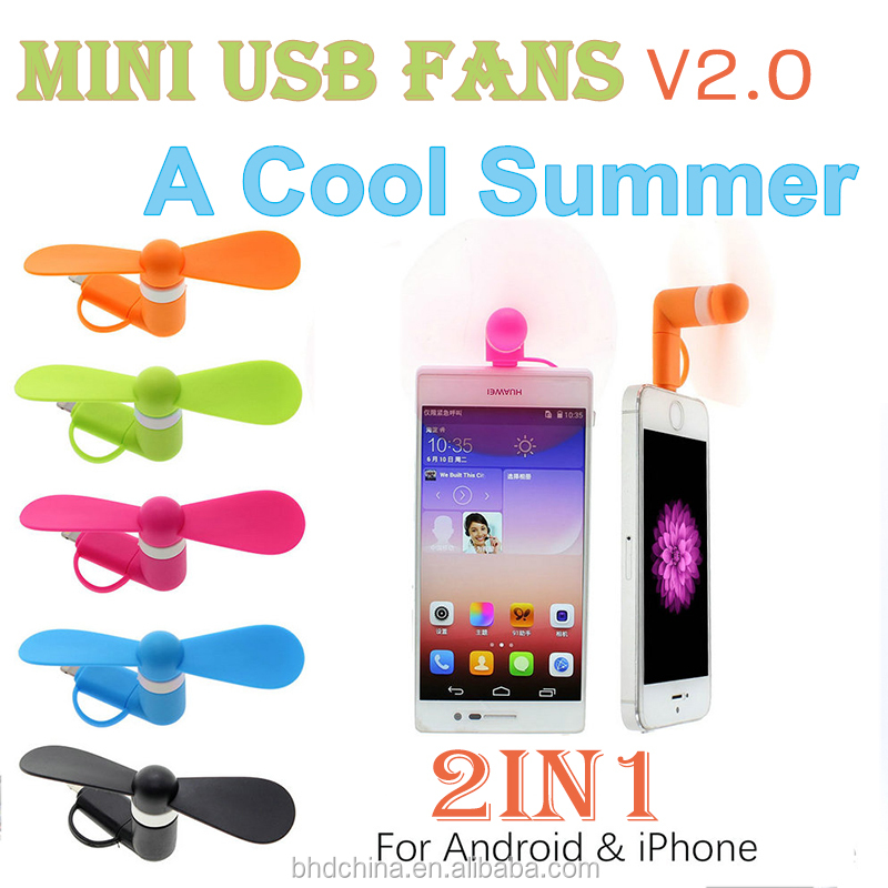 100% tested Mini 2 in 1 Portable Micro USB Fan For iPhone 5 6 hand Fans for Samsung Android OTG Smartphones USB Gadget