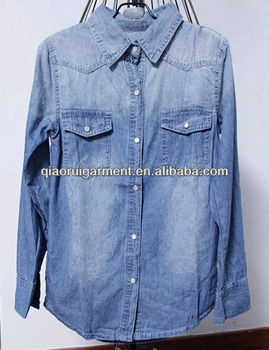 High quality washed casual Retro/denim long sleeve shirt for women/ladies