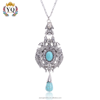 PYQ-00075 elegant crystal teardrop turquoise stone pendant necklace for woman