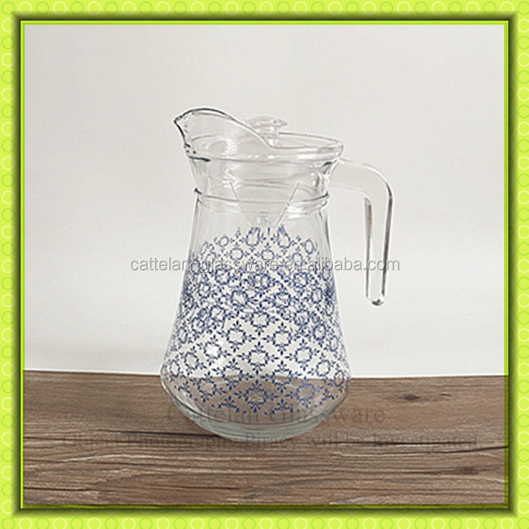 Clear 1.5l Glass Fruit Jug Set With 4 Cups,Watermelon Printed ...