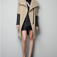 camel wool coat lapel imitation leather splicing sleeve opening and closing side zipper placket overcoat