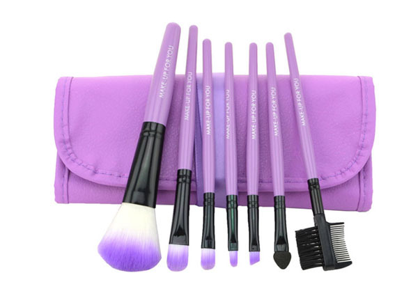 Purple 7pcs Make Up Brush Set synthetic hair
