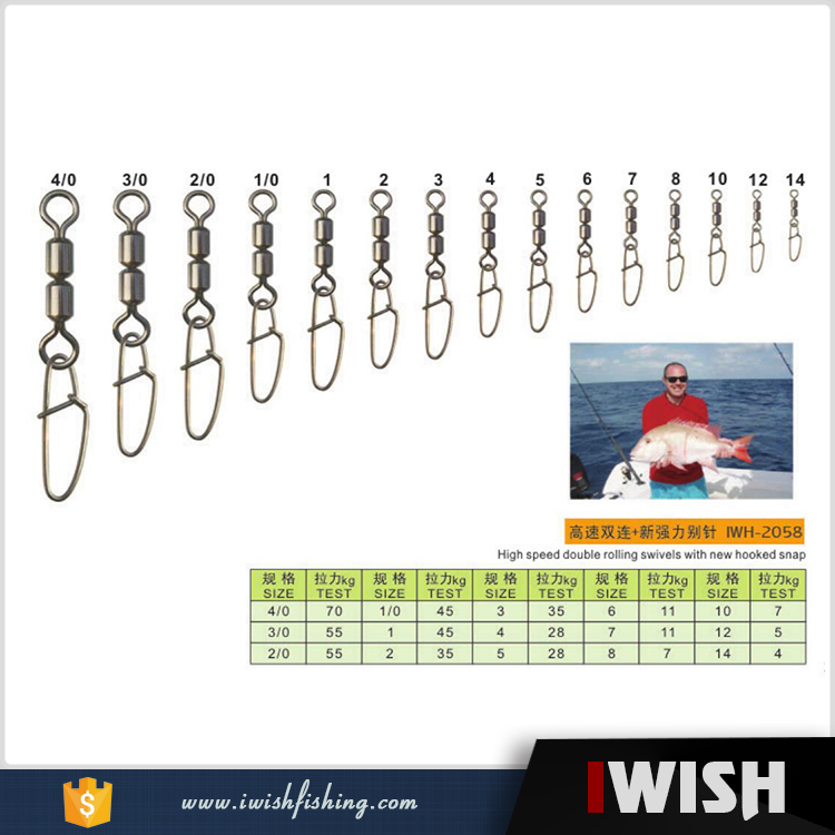 High Speed Double Rolling Swivels With New Hooked Snap Fishing Supplies