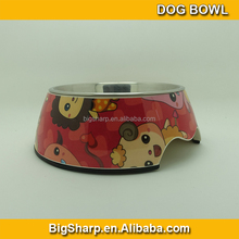 Bigsharp wholesale diasostic high quality detachable dual antislip Stainless steel cartoon dog bowl