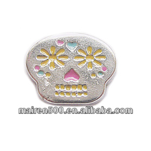 in stock, Glass floating memory locket Skull charms assort floating charms (FC-143)