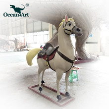 OAC0068 Theme Park Cartoon Kids Expo Fiberglass life size horse statue