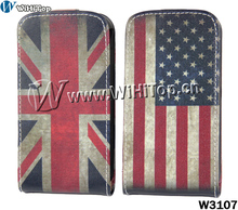 Retro US UK National Flag Flip Leather Case For Samsung Galaxy S Duos s7562