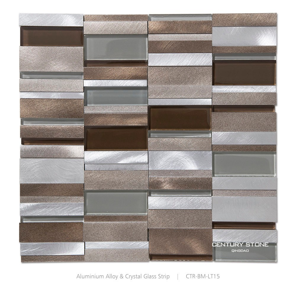 brushed aluminium and glass strip kitchen backsplash metal glass mosaic diamond brushed aluminum alucobond tile