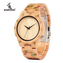 BOBO BIRD Rose Print Women Maple Wood ladies Quartz Wrist watches <strong>bamboo</strong>