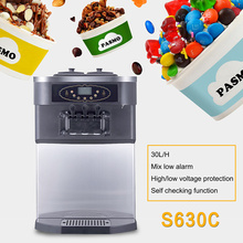 PASMO S630TC Hot sale table top soft serve ice cream machine/ 3 colors desktop soft ice cream maker with high quality