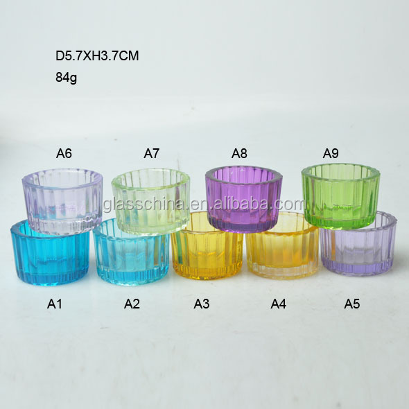 Carinal Ribbed Small Short Colored Sprayer Glass Candle Holder