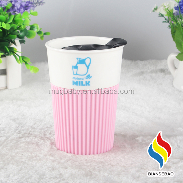Wholesale Double Wall Ceramic Travel Tumbler with Silicone Lids