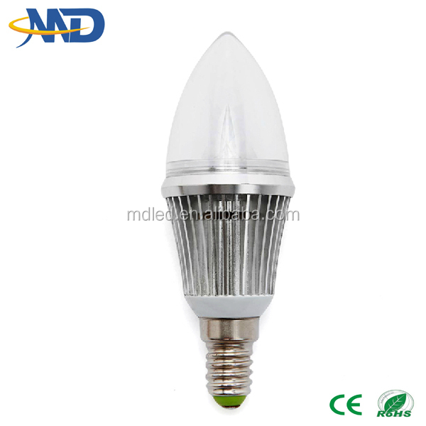3w led candle light E14 90-277V 3 years warranty dimmable & no diammble e12 led candle light bulb