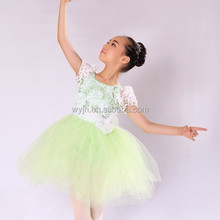green flower sequin fluffy pettiskirt for girls- embroidered costume with belt-- stage wear