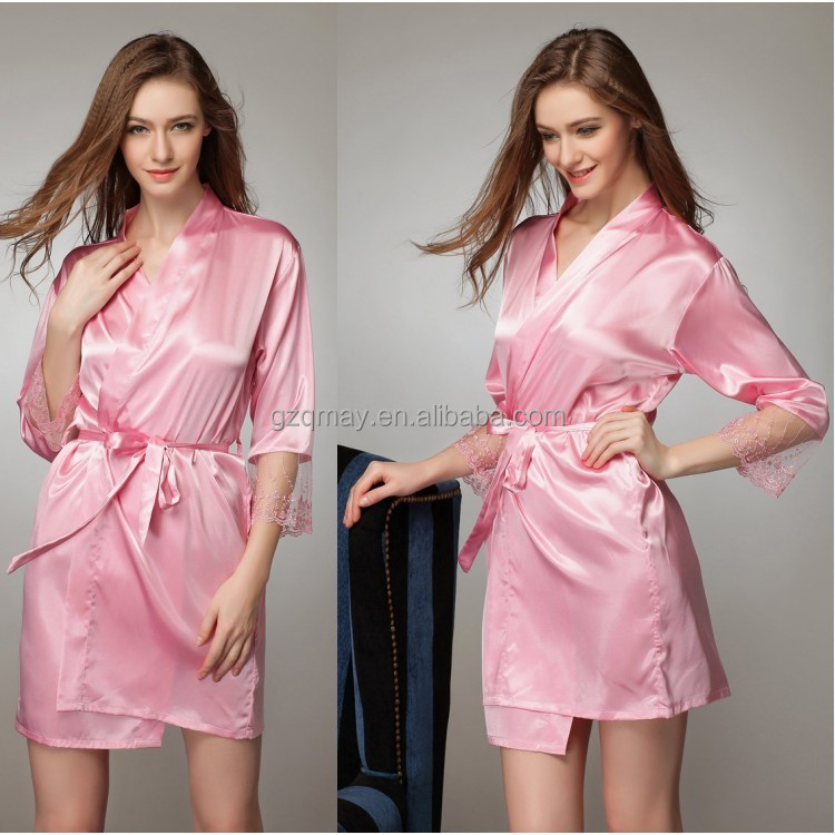 Wholesale Beautiful Women Cotton Satin Home Wear Bridal Gowns Bridesmaid Sweetheart Dress Vestidos Custom Hotel Robes
