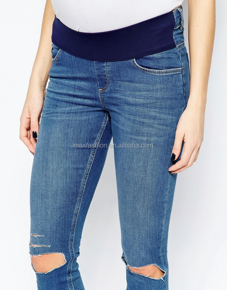 Latest Style Maternity Ultra Skinny Jeans In Blessing Mid Stone Wash With Rip
