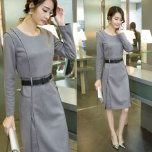 C67329A Korean style winter suede dress for ladies long formal dress