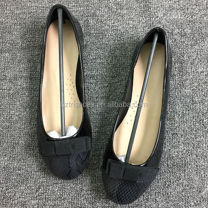 Snake leather round toe ballet flat pumps shoe women
