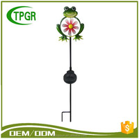 Portable Metal Frog Windmill Solar Led Stake Garden Spot Light For Outdoor