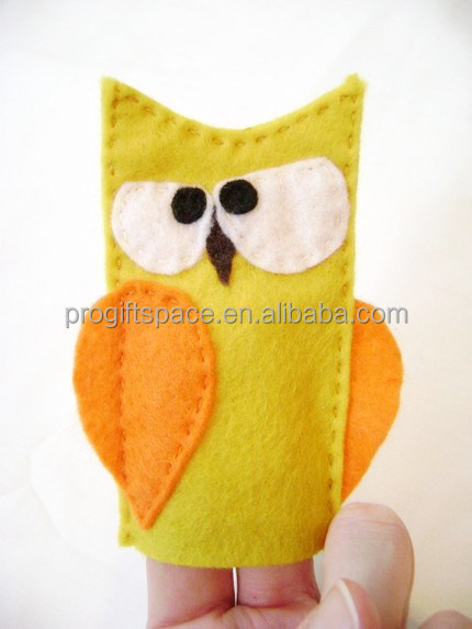 2017 new fashion hotsale China ecofriendly cheap custom animal wholesale decoration crocheted felt finger owl making hand puppet
