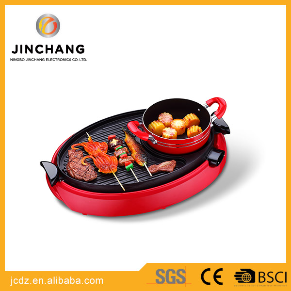 wholesale smokeless korean table top grill Electric contact BBQ grill with pot
