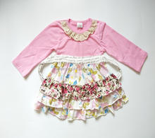 Girls clothing boutique floral frilly ruffle lace baby girl dresses with belt girls fall boutique dresses
