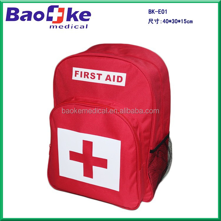 Earthquake outdoor survival red first aid kit backpack bag with shoulder straps red cross