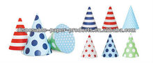 Boys Paper Party Cone Hats Caps in blue Polka Dots for Birthday Party Shower Supplies