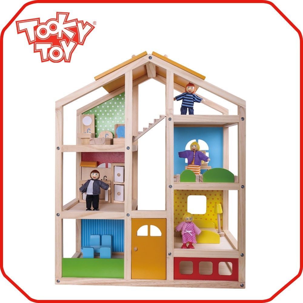 New design factory price single wooden toy doll house